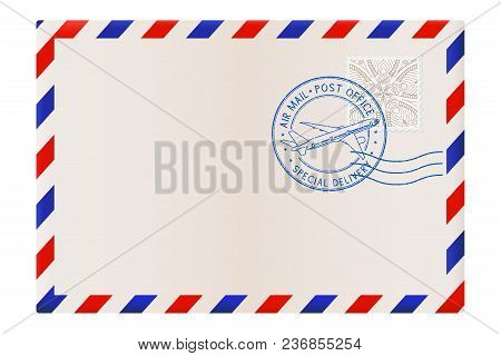 Blank Envelope With Air Mail Postmark. Vector Illustration Isolated On White Background