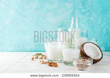 Vegan Alternative Food, Set Of Various Non-dairy Milk - Rice, Coconut, Almonds, Pistachio, Sesame, P