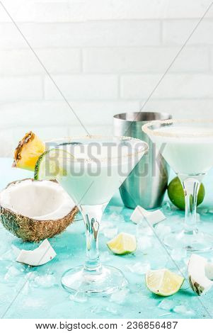 Tropical Drink, Frozen Coconut Pineapple Margaritas With Frozen Pina Colada, Tequila, Pineapple Juic