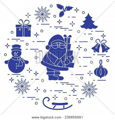 Santa Claus With Presents And Other New Year And Christmas Symbols. Winter Elements Made In Line Sty