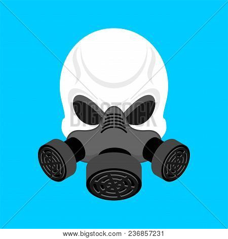 Skull In Respirator. Skeleton Head And Gas Mask Green. Vector Illustration