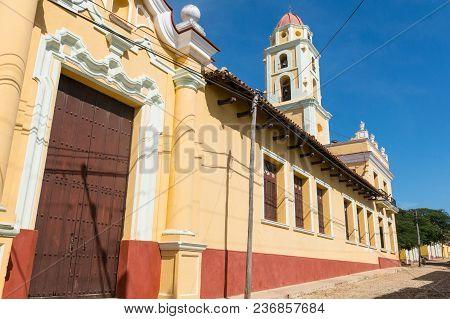 Colonial Town Cityscape Of Trinidad, Cuba. Unesco World Heritage Site. Tower Of Museo Nacional De La