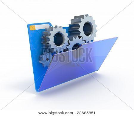 Gears In A Blue Folder.
