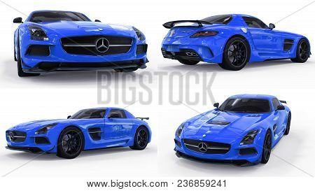 Set Mercedes-benz Sls Blue. Three-dimensional Raster Illustration. Isolated Car On White Background.