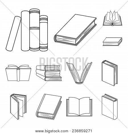 Book In The Binding Outline Icons In Set Collection For Design. Printed Products Vector Symbol Stock