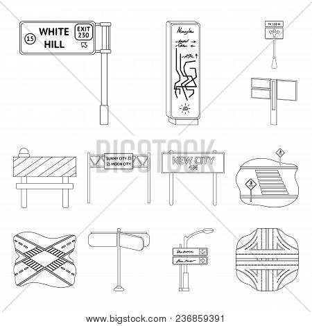 Road Junctions And Signs Outline Icons In Set Collection For Design.pedestrian Crossings And Signs V