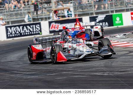 April 13, 2018 - Long Beach, California, USA: Marco Andretti (98) brings his race car through the turns during the Toyota Grand Prix of Long Beach race in Long Beach, California.