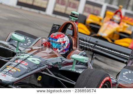April 15, 2018 - Long Beach, California, USA: Zach Veach (26) brings his race car through the turns during the Toyota Grand Prix of Long Beach race at Streets of Long Beach in Long Beach, California.