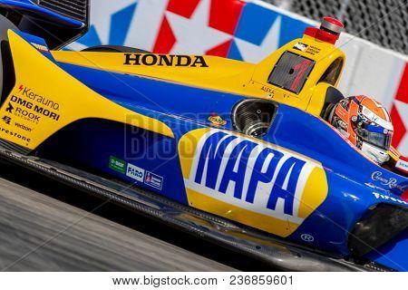 April 13, 2018 - Long Beach, California, USA: Alexander Rossi (27) brings his race car through the turns during the Toyota Grand Prix of Long Beach race in Long Beach, California.