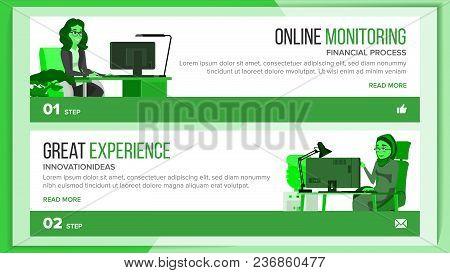 Horizontal Banners Website Design Vector. Business Interface. Responsive Ux Design. Cartoon Characte