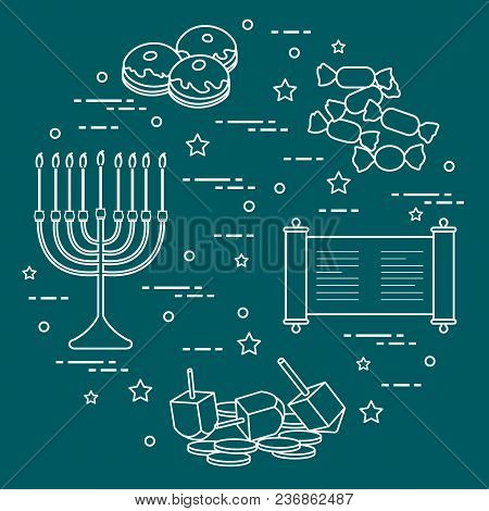 Jewish Holiday Hanukkah: Dreidel, Sivivon, Menorah, Coins, Donuts And Other. Design For Postcard, Ba