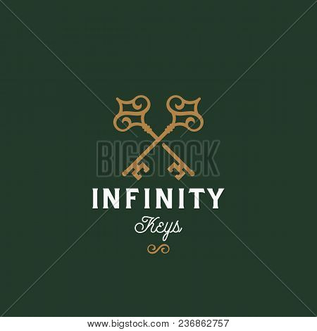 Infinity Keys. Abstract Vector Sign, Symbol Or Logo Template. Crossed Keys Sillhouettes With Infinit
