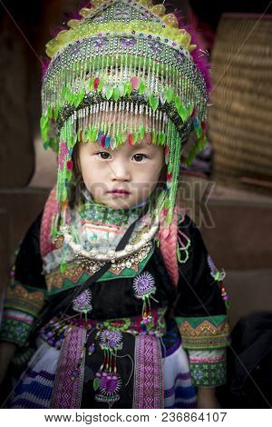 Sapa Vietnam - Nov3,2017 Little Girl Wearing Full Tradition Clothes Of Hill Tribe In Sapa Town North
