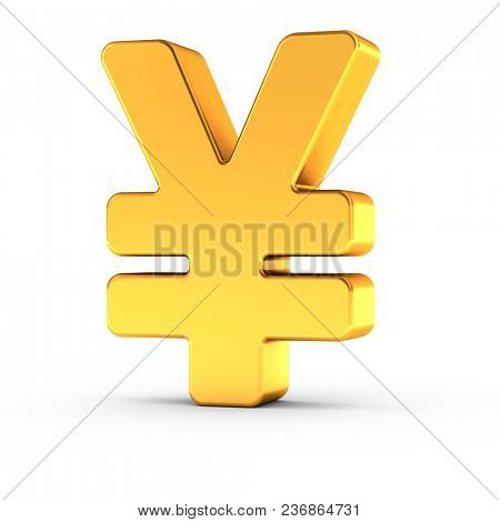 3D illustration of the Yen symbol as a polished golden object over white background with clipping path for quick and accurate isolation.