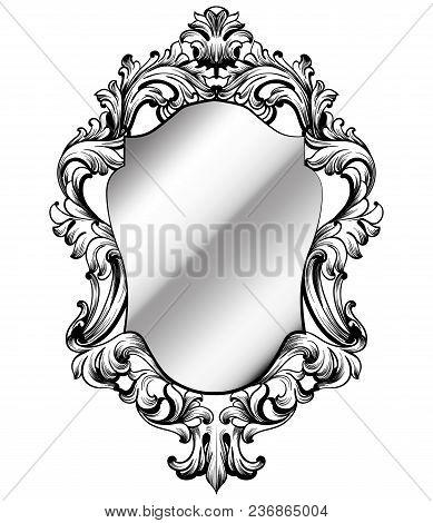 Baroque Frame Decor Vector. Victorian Detailed Rich Ornament Illustration. Royal Luxury Intricate Or