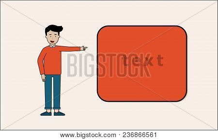 Man Stand And Hand Point To Text Box Copy Space Presentation