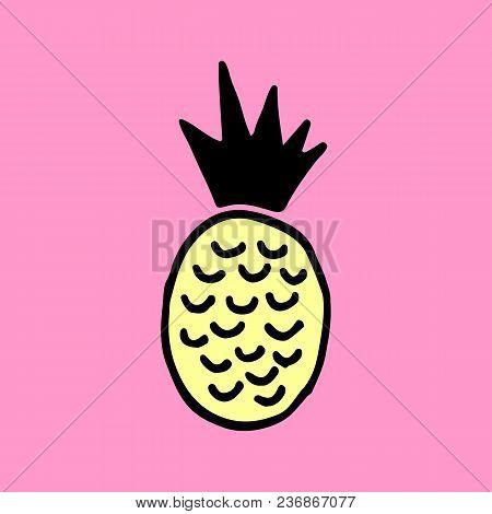 Cute Cartoon Hand Drawn Pineapple. Sweet Vector Colorful Hand Drawn Pineapple. Isolated Doodle Hand