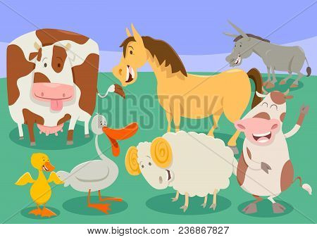 Funny Farm Animal Characters Group Cartoon