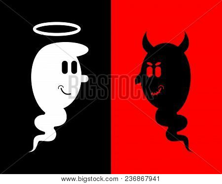 Heck And Angel. White And Black Ghost. Evil Spook With Horns And Nimbus.