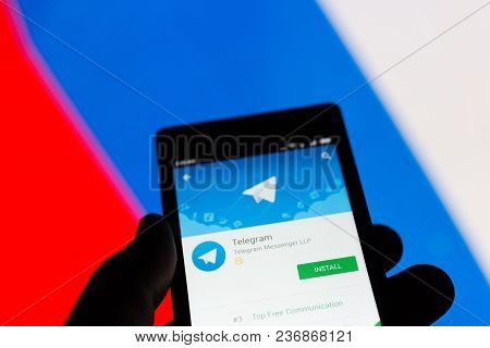 Moscow, Russia - April 17, 2018: A Mobile Phone In The Hand With The Telegram Application On The Goo