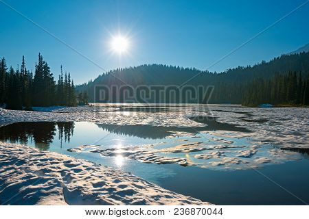 Reflection Lake At Mount Rainier National Park, Washington State, Usa