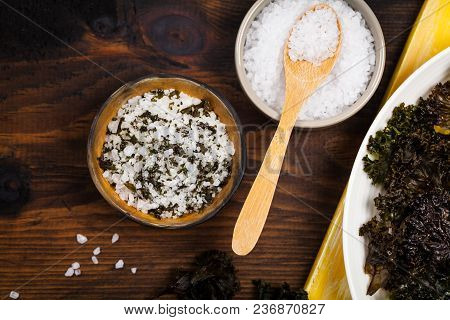 Organic Roasted Kale Sea Salt. Selective Focus.