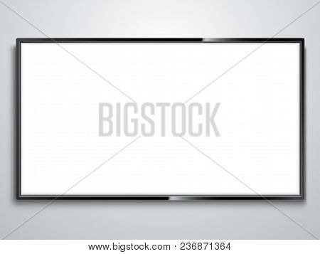 Realistic Tv Model With Empty White Screen On Wall