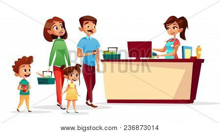People At Checkout Counter Vector Illustration Of Family With Children In Supermarket With Shopping