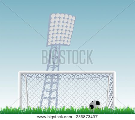 Soccer Goal With Net And Ball On Field