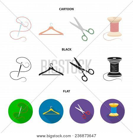 Thread, Reel, Hanger, Needle, Scissors.atelier Set Collection Icons In Cartoon, Black, Flat Style Ve