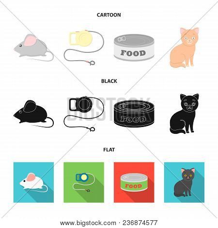 Mouse, Pet Leash, Pet Food, Kitten. Cat Set Collection Icons In Cartoon, Black, Flat Style Vector Sy
