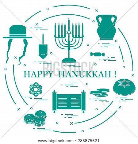Vector Illustration: Jewish Holiday Hanukkah: Dreidel, Sivivon, Menorah, Star Of David, Coins, Donut