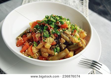 Vegetable Stew With Potato, Carrot And Green Beans Topped With Sesame Seeds. European Cuisine. Healt