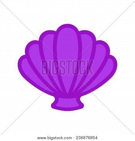 Scallop Sea Shell. Clam. Conch. Seashell - Flat Vector Icon.