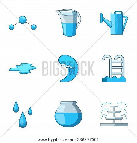 Water Supply Icons Set. Cartoon Set Of 9 Water Supply Vector Icons For Web Isolated On White Backgro