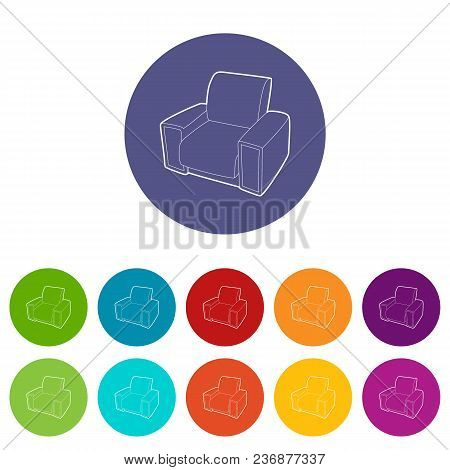 Armchair Icons Color Set Vector For Any Web Design On White Background