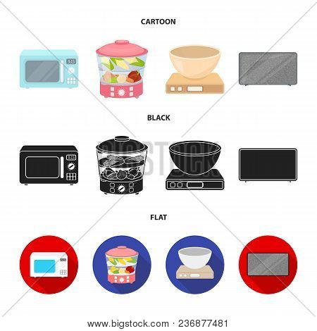 Steamer, Microwave Oven, Scales, Lcd Tv.household Set Collection Icons In Cartoon, Black, Flat Style