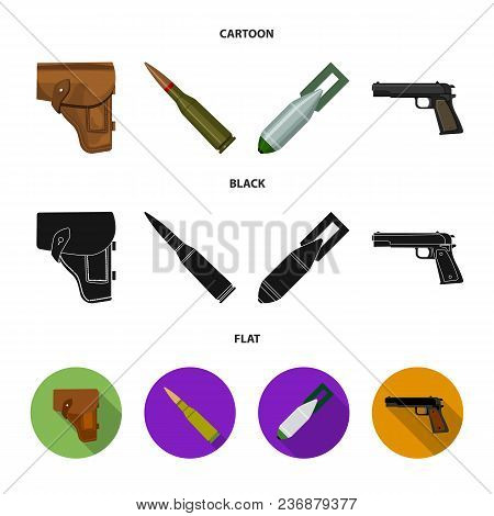 Holster, Cartridge, Air Bomb, Pistol. Military And Army Set Collection Icons In Cartoon, Black, Flat