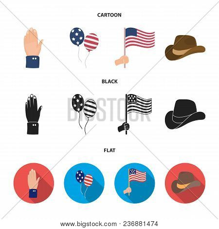 Balloons, National Flag, Cowboy Hat, Palm Hand.patriot Day Set Collection Icons In Cartoon, Black, F
