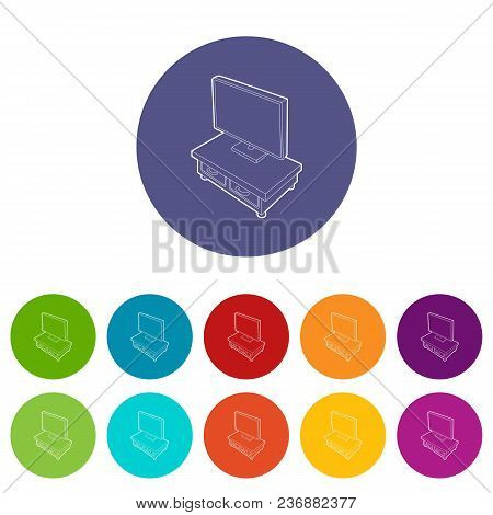 Wooden Tv Cabinet With Tv Icons Color Set Vector For Any Web Design On White Background
