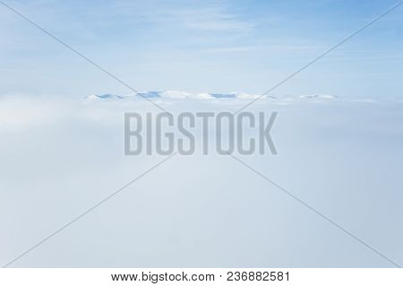 Fog In Gorgany Mountains During Winter Storm