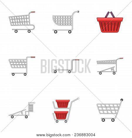 Shopping Cart Icons Set. Flat Set Of 9 Shopping Cart Vector Icons For Web Isolated On White Backgrou