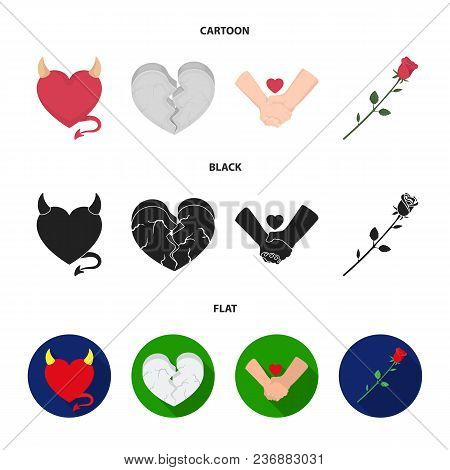 Evil Heart, Broken Heart, Friendship, Rose. Romantic Set Collection Icons In Cartoon, Black, Flat St