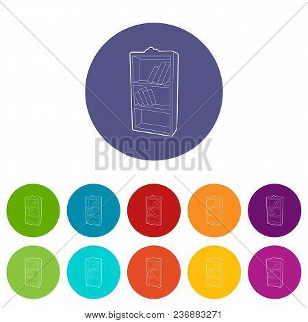 Bookcase Icons Color Set Vector For Any Web Design On White Background