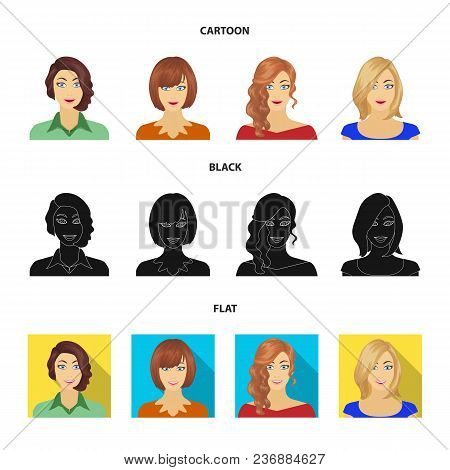 The Appearance Of A Woman With A Hairdo, The Face Of A Girl. Face And Appearance Set Collection Icon