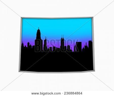 Wyoming WY Skyline City Metropolitan Area Nightlife 3d Illustration