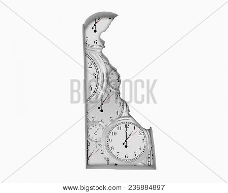 Delaware DE Clock Time Passing Forward Future 3d Illustration