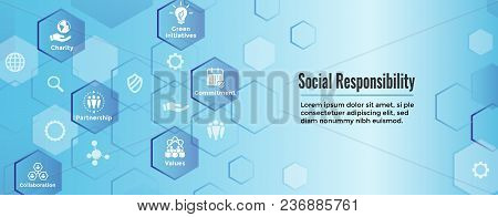 Social Responsibility Solid Icon Set With Honesty, Integrity, Collaboration, Web Banner Header