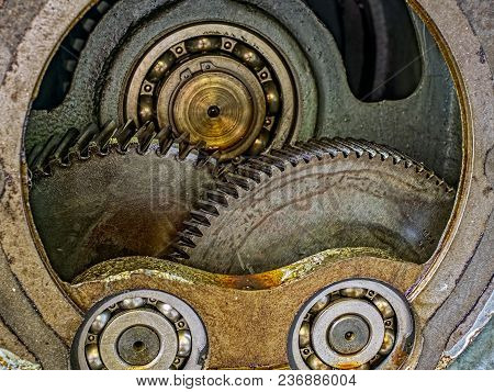 Engine Gear Wheels, Industrial Background, Close View