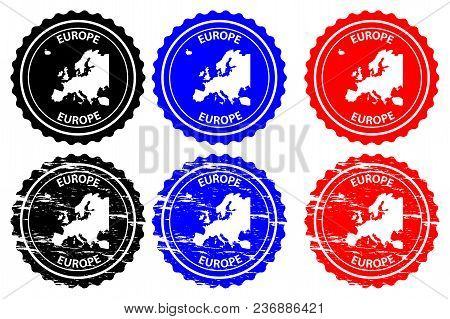 Europe - Rubber Stamp - Vector, Europe Continent Map Pattern - Sticker - Black, Blue And Red